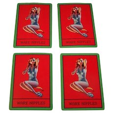 "4 SINGLES Brown & Bigelow ""Ware Nipples"" Pin-Up Playing Cards, Ware Coupling and Nipple Co. Advertising, Earl Moran Designs, c.1940, $1.50/ea."