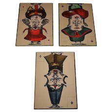 "16 Mounted SINGLE ""Jeu Grotesque"" Playing Cards, c.1800, $10/ea."