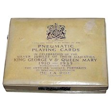 """Double Deck De la Rue """"Silver Jubilee – King George V & Queen Mary"""" Pneumatic Playing Cards, c.1935"""