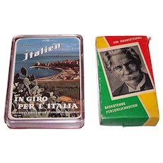 "2 German Quartet Card Games, $15/ea.: (i) ASS No. 641 ""Unterwegs in Italien"" (""On the Road in Italy""), c.1953; and (ii) Werbeverlag Neubauer Braunlage ""Bedeutgende Personlichkeiten"" (""Important Persons""), c.1960"