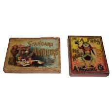 """McLoughlin Bros. """"Standard Authors"""" Card Game (51/52), c.1890, ($25/separately) and McLoughlin Bros. """"A Frog He Would A Wooing Go"""" BOX Only, c.1904 ($5/ separately)"""