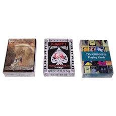 "3 Decks Non-Standard Playing Cards, $15/ea.: (i) Prospero Art ""Wagner's Ring,"" w/ Arthur Rackham Illustrations; (ii) Sunshine Joy ""William Schaff""; (iii) Ten Chimneys Foundation ""Ten Chimneys,"" Lunt Photographs"