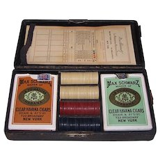 """Game Box"" for Max Schwarz La Primadora Havana Cigars, w/ 2 Decks Andrew Dougherty Playing Cards, Period Clay Poker Chips, ""Bridge Whist"" Score Card, c.1912/13"