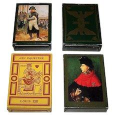 "4 Decks Edition Dusserre Playing Cards, $15/ea.: (i) Jeu Napoleon 1st ; (ii) Jeu Bonaparte; (iii) Jeu Equestre Louis XV; and (iv) ""Jeu des Ducs de Bourgogne"