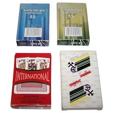 "4 Decks Poland Playing Cards, $10/ea.: (i) Twin Decks Axel-Malina; (ii) Doslonce ""International""; (iii) NSZZ Solidarnosc ""Carta Regia"""