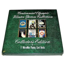 """USPC """"Centennial Olympic Winter Games Collection"""" Playing Cards, 17 """"MicroMini"""" Decks, c.1996"""