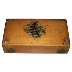Mauchline Fernware Bezique Box and Counters w/ James English & Co. Playing Cards, c.1870