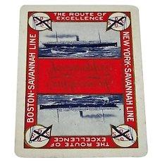 "SINGLE (Auction Bridge Scoring Card), Standard Playing Card Co. ""Savannah Line"" Maritime Card, c.1927"