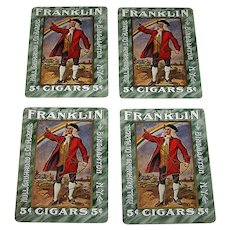"4 SINGLES (Set of Kings), USPC ""Flor de Franklin 5¢ Cigars"" Advertising Playing Cards, Hull, Grummond & Company, c.1910, $1.50/ea."