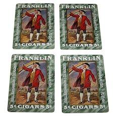 "4 SINGLES (Set of Jacks), USPC ""Flor de Franklin 5¢ Cigars"" Advertising Playing Cards, Hull, Grummond & Company, c.1910, $1.50/ea."