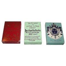 "Three Decks Grimaud Playing Cards, $15/ea.: (i) ""Jeu Napoleon,"" Mlle. Matéja Designs, c.1969; (ii) ""Hector de Trois,"" c.1969; (iii) ""Jeu Louis XV,"" c.1969"