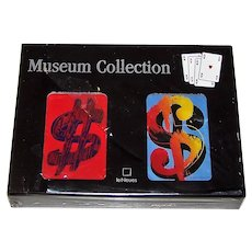 "Double Deck Carta Mundi ""Andy Warhol"" Playing Cards, te Neues Museum Collection, Warhol 1981 ""Dollar Signs"""