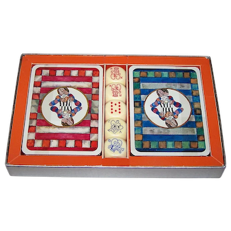 "Double Deck Matthieu Lithographe ""Boulanger"" Playing Cards, Senans Publisher, Ltd. Ed. (6064/9999), Graciela Rodo Boulanger Designs, w/ Dice, Martin Art, Inc. Letter, c.1970"