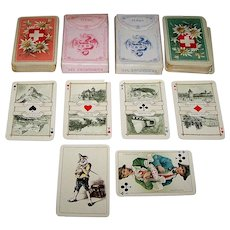"Twin Decks Dondorf ""Schweitzer Trachten"" (""Swiss Costumes"") Large Patience Playing Cards, Dondorf No. 190, c. 1920, $50/ea."