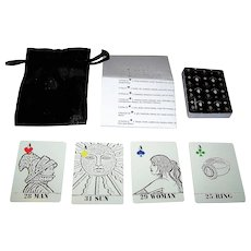 """Paris Debono """"Lenormand Black and White Drawings"""" Combination Lenormand Fortune Telling Cards and No Revoke Playing Cards, Self-Published by Artist, Paris Debono Conception and Designs"""
