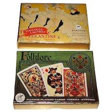 "2 Double Decks Piatnik Playing Cards, $15/ea.: (i) ""Folklore"" (Non-Standard); and (ii) ""Toulouse-Lautrec"" (Standard)"