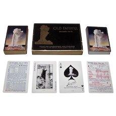 "Double Deck USPC ""Old Faithful"" Playing Cards, Haynes, Inc. Publisher, Old Faithful Geyser – Yellowstone National Park, c.1949"