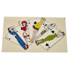 IMPKO Water Transfer Decal w/ Pin-Up Playing Cards, c.1950s (?)