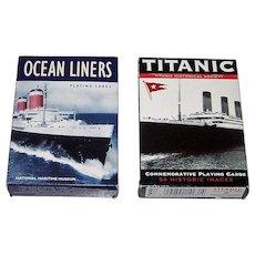 "2 Decks Piatnik Maritime Cards, $10/ea.: (i) National Maritime Museum ""Ocean Liners""; and (ii) Titanic Historical Society ""Titanic"""