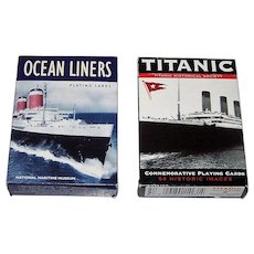 "2 Decks Piatnik Maritime Cards, $10/ea.: (i) National Maritime Museum ""Ocean Liners""; and (ii) Titanic Historical Society ""Titanic"""