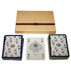 "Double Deck Modiano ""Gucci"" Playing Cards, Custom ""Gucci"" Box"