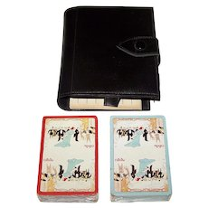 "Bridge Set w/ Double Deck Grimaud ""Maxim's"" Playing Cards, Leatherette Case"