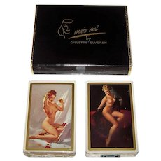 "Double Deck Brown & Bigelow ""Mais Oui"" Pin-Up Playing Cards, Gil Elvgren Designs, c.1950"
