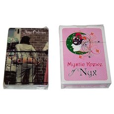 "2 Decks New Orleans Mardi Gras Playing Cards, $15/ea.: (i) Estrie Graphics (Postcard Factory) ""New Orleans"" (Mooning) Souvenir; (ii) Mystic Krewe of NYX"