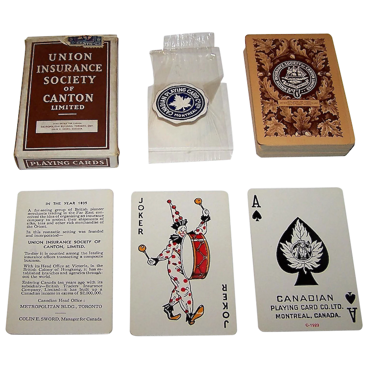 """Canadian Playing Card Co  """"Union Insurance Society of Canton"""" Playing  Cards, c 1939"""