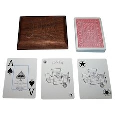 "International Playing Card Company, Ltd. ""Jiffy Upholstery"" Playing Cards, w/ Custom Wood Box, c.1987"