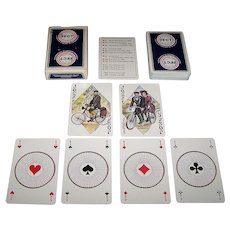 """Editions Dusserre (Boéchat Frères) """"Fédération Francaise de Cyclotourisme"""" Playing Cards, H. Simoni and J. Ortega Designs, c.1980"""