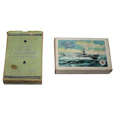 "2 Decks Waddington Tobacco Playing Cards, $5/ea.: (i) ""Wills's 'Wild Woodbine'"", c.1940s; and (ii) ""Player's Navy Cut,"" c.1950s"