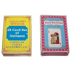 "2 Decks Merrimack Non-Standard Patience Playing Cards, $10/ea.: (i) ""52 Card Set of Antiques""; (ii) ""Santa Christmas"""