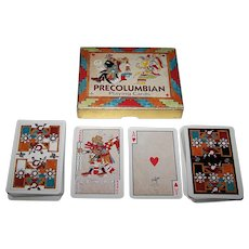 "Double Deck Piatnik ""Precolumbian"" Playing Cards (52/52, 1J, Each Deck), c.1980"