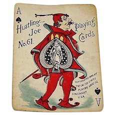 "SINGLE (Ace of Spades), USPC ""Hustling Joe No. 61"" Playing Card, First Edition, c.1895"