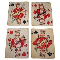 "4 SINGLES (Set of Kings), USPC ""Hustling Joe No. 61"" Playing Card, First Edition, c.1895, $10/ea."