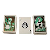 """Double Deck (or Twin Decks) Western Playing Card Co. """"Art Deco"""" Glamour Playing Cards (No Jokers), c.1933"""