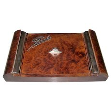 "Italian Art Deco Burl Wood & Sterling Silver Games (""Giochi"") Box w/ Vannini Playing Cards, c.1937"
