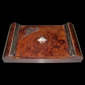 "Italian Art Deco Burl Wood & Sterling Silver Games (""Giochi"") Box w/ Vannini Playing Cards, c.1937"
