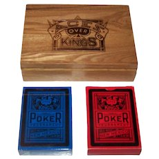 """Double Deck USPC """"Aces Over Kings"""" Playing Cards w/ Wood Box"""