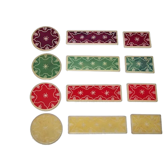 Antique Set of 159 European Gaming Chips, 4 Colors, 3 Shapes, Original Boxes, c.1875