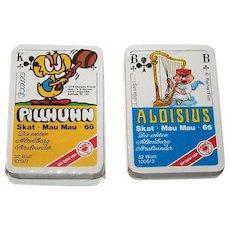 "2 Decks ASS Patience Size Skat Playing Cards, $10/ea.: (i) ""Pillhuhn"", Clemens Krauss Designs, c.1976; (ii) ""Aloisius"" (""Alois Hingerl"") Walter and Traudel Reiner Designs, c.1977"