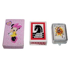 "3 Decks Patience and Mini-Patience Cards w/Animation, $5/ea.: (i) Dainippon ""Minnie Mouse"" Patience for JAL; (ii) ""Dark Horse Comics"" Mini-Patience, China Maker Unknown; and (iii) ""Old West"" Micro-Patience, Maker Unknown"