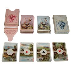 """Twin Decks Dondorf No. 27 """"Cartes pour Dames"""" aka """"Four Corners of the World"""" Patience Playing Cards, c.1906-1918"""