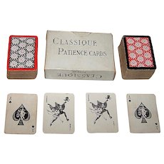 """Double Deck Mesmaekers Freres """"Classique"""" Mini-Patience Playing Cards, Gibson Joker, c.1940s"""