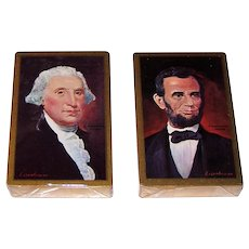"""Brown & Bigelow (Remembrance) """"Eisenhower Presidential Portraits"""" Playing Cards, Eisenhower Paintings of Washington and Lincoln, c.1960s"""