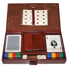 Spanish Faux Leather Game Box, w/ 2 Decks Naipes Comas Playing Cards, Chips, Dice, Dice Cup and Score Pad