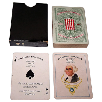 "The C.A. Edgarton Mfg. Co. ""President Suspender"" Playing Cards, c.1904"