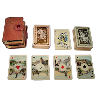"Double Deck ASS Maritime Playing Cards, Patience Size, HAPAG Corner Markings w/HAPAG Leather Case, ""Salon-Karte"" Designs, Scenic Aces, c.1931-1936"