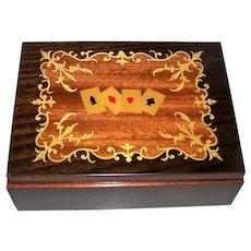 Inlaid Rosewood Card Box, 4-Deck Capacity